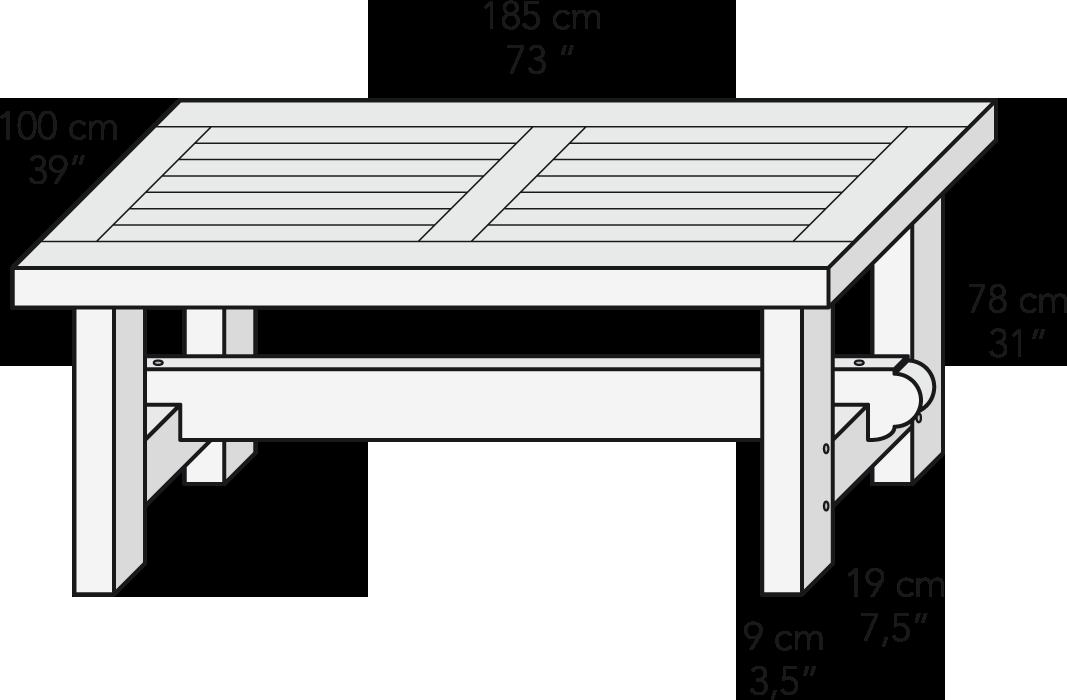 Mesa centro travesaño