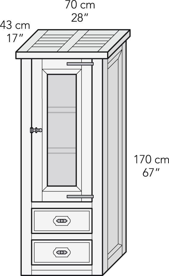 Modular 1 vitrina cajones
